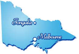 Map of Victoria showing location of Tongala in relation to Melbourne.